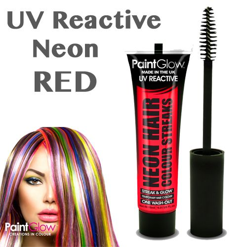 UV Neon Hair Streaks - RED